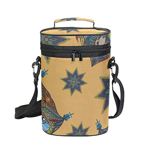 2 Bottle Wine Carrier Orange Colorful Owl Flowers Insulated Tote Portable Travel Padded Cooler Tote Bag With Shoulder Strap For Picnics And Outdoor