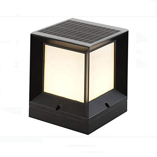 KAIKEA Solar Warm Light Post Cap Lights, Outdoor Post Cap Square Fence Light, Athway Patio Wooden Posts Home Lmprovement Post Light Fixtures Light For Fence (color: Black)