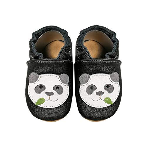 HOBEA-Germany Baby Lauflernschuhe Tiermotiv mit Anti-Rutsch-Sohle, Kinder Hausschuhe Mädchen & Jungen, Lederschuhe Baby (26/27 (30-36 Mon), Panda)