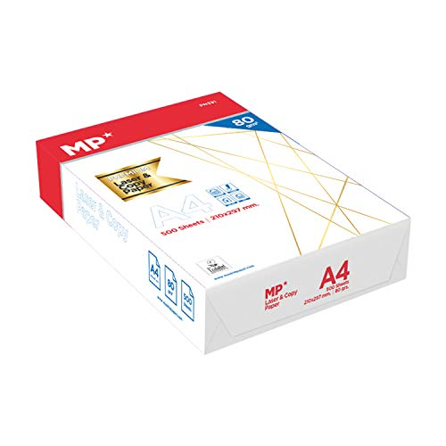 MP - Folios A4 80gr 500 Hojas Premium,Papel Fotografico A4 para Impresora Multifuncion, Papel A4 Material Oficina y Papeleria, Folios A4 Material Escolar, 1 Paquete Folios Blancas, Din A4 Imprimir