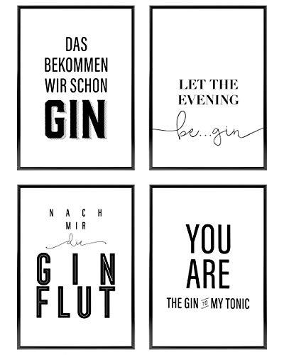 Heimlich ® Premium Poster Set | OHNE Bilderrahmen | Stilvolles Set mit passenden Bilder in Schwarz-Weiß | 4 Stück in DIN A4 (21x30cm) | Ohne Bilderrahmen » Gin Lover «