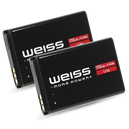 2X Weiss Akku für Fritz!Fon C6 1200mAh [20prozent mehr Kapazität als der Originale AVM A051 Fritzfon C6 Akku] Li-Ion