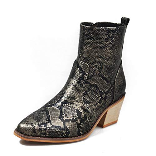 YHZQ Botas De Tobillo para Mujer, Botas De Punta Serpentina De Señoras, Caída Invierno con Cremallera De Tacón Grueso Botas Cortas, Zapatos De Moda (35-43EU) black-EU40