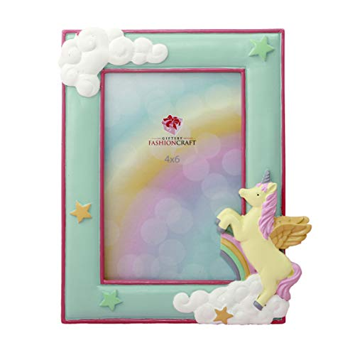"""Magical Unicorn Hand Painted Pastel Frame for 4"""" x 6"""" Photo"""