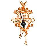 Wandkings 'Kuckucksuhr' Wanduhr Wandtattoo (Farbe: Uhr=Schwarz, Aufkleber=Orange)