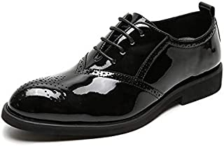 XueQing Pan Brogue Carving Oxfords for Men Formal Dress Shoes Lace up Patent Leather Pointed Toe Block Heel Rubber Sole Solid Color Anti-Slip (Color : Black, Size : 7 UK)