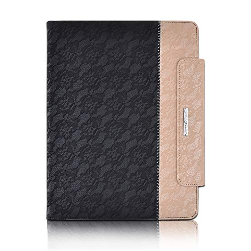 Thankscase for iPad Pro 12.9 3rd Gen, Rotating TPU Smart Cover with Pencil Holder [Support Pencil Charging], Swivel Leather Case with Wallet Pocket, Hand Strap for iPad Pro 12.9 2018-Lace Black Gold