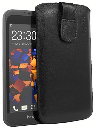 mumbi Echt Ledertasche kompatibel mit HTC Desire 320 Hülle Leder Tasche Hülle Wallet, schwarz