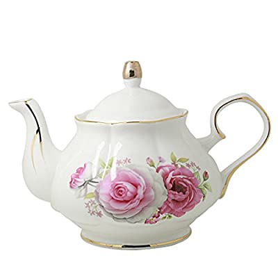 Jomop Pottery Teapot Cool Gift For Tea Lovers Handmade Ceramic Teapot (Rose)