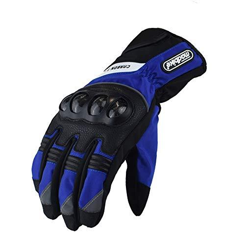 Guantes de Moto Bicicleta eléctrica Impermeables Guantes de piloto a Prueba de frío y caída protección de Fibra de Carbono L Azul b