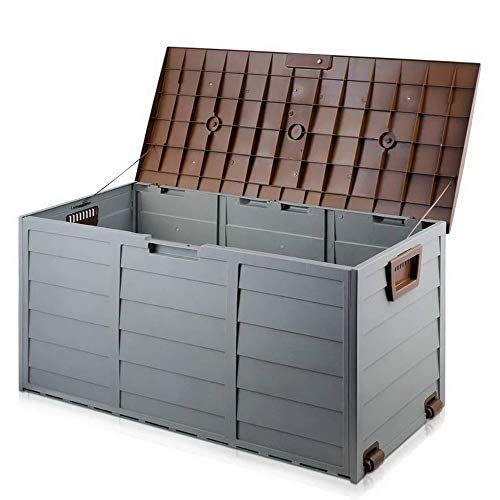 BARGAINSGALORE OUTDOOR GARDEN PLASTIC STORAGE SEAT UTILITY CHEST CUSHION SHED BOX TOOLS (Brown)