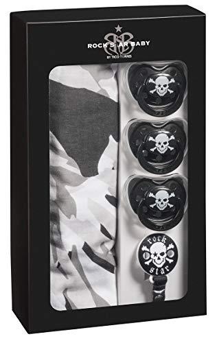 ROCK STAR BABY by Tico Torres Geschenkset für Babys ab 3 Monate - Kinder Giftset - 5 teilig: 1 Musselin-Tuch 120cm x 120cm, 3 Schnuller, 1 Schnullerband | Pucktuch - Mulltuch | Pirat