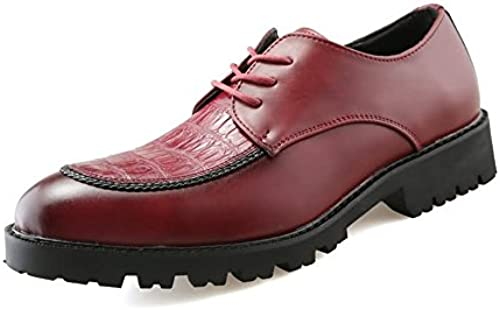 JIALUN-Schuhe Herrenmode Arbeitssicherheit Runde Spitze Volltonfarbe schnüren Sich Oben Freizeitschuhe (Farbe   Rot, Größe   39 EU)