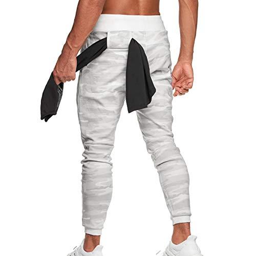 Trihedral-X Los Hombres Pantalones de Fitness Nuevo pies Delgados del Invierno Basculador de fútbol Pantalones de los Hombres (Color : WhiteCamouflage, Size : XXL)