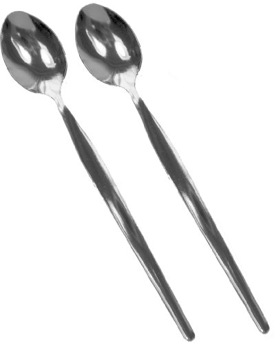 Get Goods - Set di 2 cucchiaini da Latte, in Acciaio Inox, 19 cm, Colore: Argento