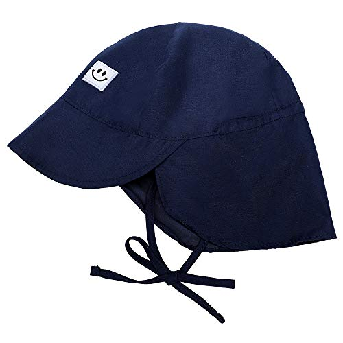 HSYZZY UPF 50+ UV Protection Baby Sun Hats, Outdoor Toddler Caps Adjustable Navy Blue 9-18 Months