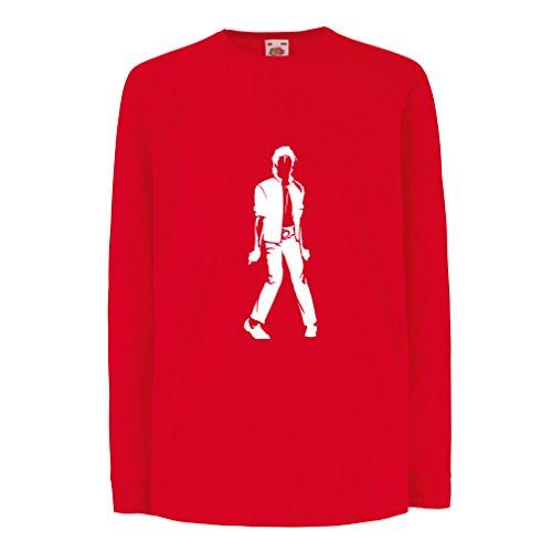 lepni.me Camiseta para Niño/Niña Me Encanta M J - Rey del Pop, 80s, 90s Músicamente Camisa, Ropa de Fiesta (7-8 Years Rojo Blanco)