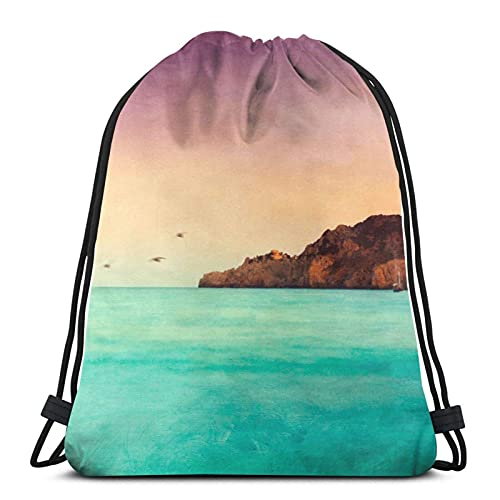 Glowing Mediterranean Sea Variedad Cara Toalla Con Cordón Mochila Sport Bag Gym Sack