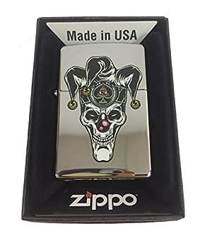 Zippo Custom Lighter - Skull Jester Scary Clown Joker Ace of Spades - High Polish Chrome
