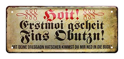 Blechschild Füße abputzen - Retro Deko Schild - Hinweisschild Schuhe abputzen auf bayrisch bayerischer Dialekt - Dekoration Türeingang Hauseingang Garderobe Schuhregal Schuhschrank Fußmatte - 28x12cm