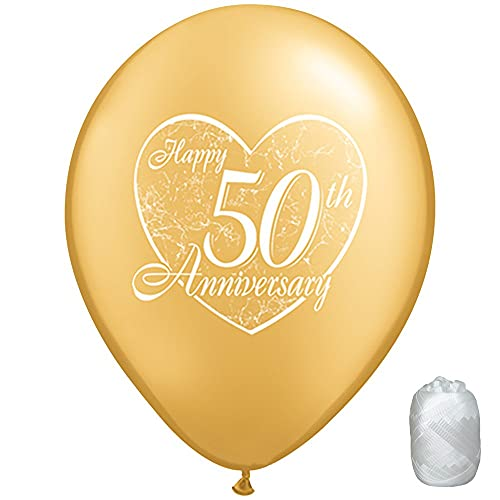 10 Pack 11 50th Anniversary Gold Heart Latex Balloons with Matching Ribbon