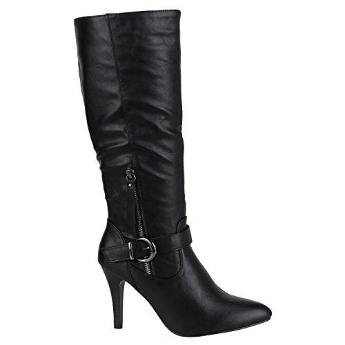 Elegante Damen Stiefel High Heels Boots Stilettos Gefüttert Schuhe 144481 Schwarz Zipper 39 Flandell
