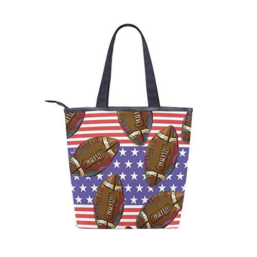 BKEOY Große Handtasche mit American Football Print Tote Zipper Shopper