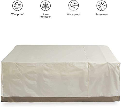 NTR Funda Impermeable para Muebles de jardín 170 x 100 x 70 Rectangular Impermeable Funda Protectora Lona con asa en Beige, Beige, 200 x 160 x 70 cm