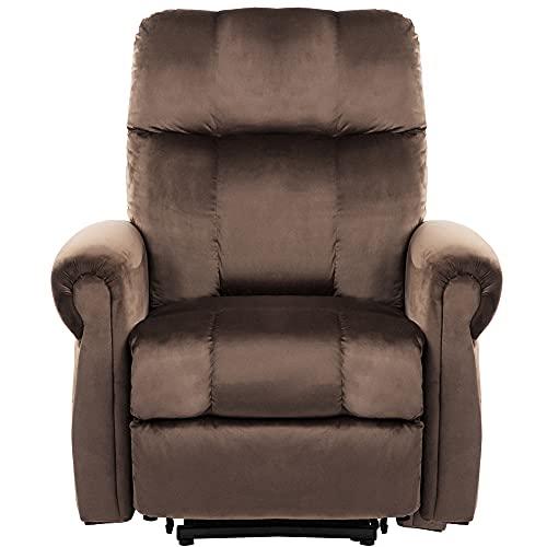 Sillón reclinable para personas mayores, resistente y mecanismo de seguridad reclinable, sofá y sala de estar con diseño sobrerelleno (marrón)