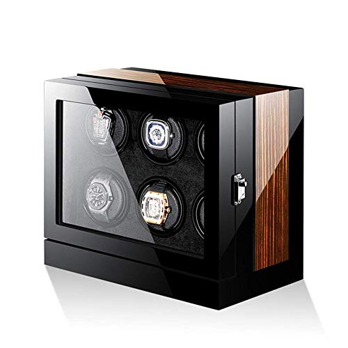 GLXLSBZ Bobinadoras de Relojes, Cajas de Almacenamiento de bobinadoras de Relojes automáticas Inteligentes para 6 Relojes, Caja de Reloj + Pantalla táctil LCD + luz Ambiental LED