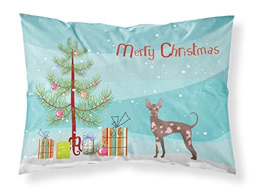 Caroline's Treasures CK3473PILLOWCASE - Funda de almohada estándar para perro mexicano sin pelo, diseño de árbol de Navidad