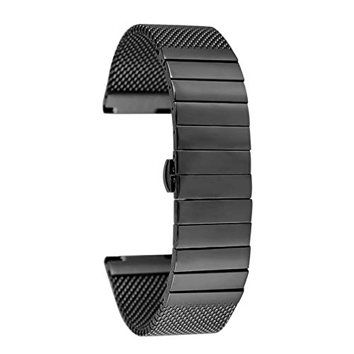 ZJSXIA 18MM 20MM 22MM 24MM Steel Strap, with Butterfly Buckle Business Strap, Bendable Solid Chain Replacement Wrist Strap Watch Strap Watch Band (Color : 18mm, Size : Black)
