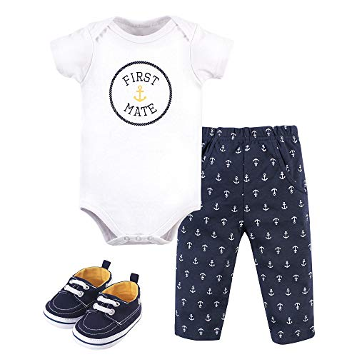 Little Treasure Unisex Baby Cotton Bodysuit, Pant and Shoe Set, First Mate, 3-6 Months
