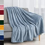 PAVILIA Fleece Blanket Throw | Super Soft, Plush, Luxury Flannel Throw | Lightweight Microfiber Blanket for Sofa Couch Bed (Light Blue, 50x60 inches)