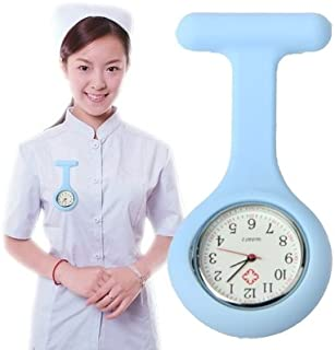 HUFAN Portable Silicone Nurse Round Quartz Wristwatch Watch with Pin(White) (Color : Blue)