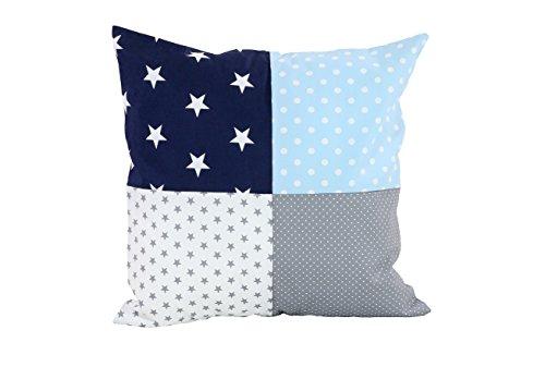 ULLENBOOM ® patchwork kussenhoes l 40x40 cm l ideaal als sierkussen voor de kinderkamer en babykamer I blauw lichtblauw grijs