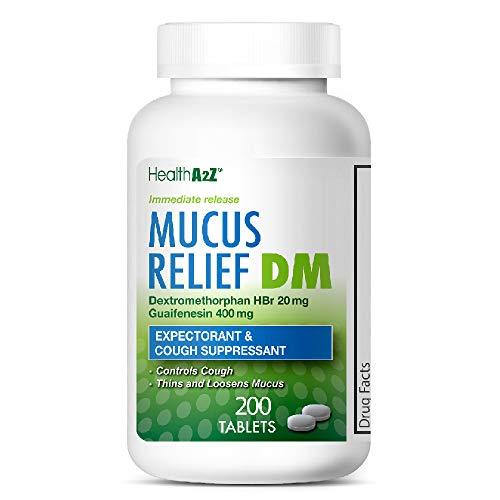 HealthA2Z Mucus Relief DM, 200 Count,Dextromethorphan HBr 20mg Guaifenesin 400mg,Generic Mucinex DM Cough,Immediate Release,Uncoated