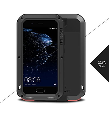Original Love Mei [HS-TOP]  Huawei P10 Powerful Hybrid - Carcasa de protección impermeable, antigolpes, antipolvo, carcasa de aluminio para Huawei P10, color negro