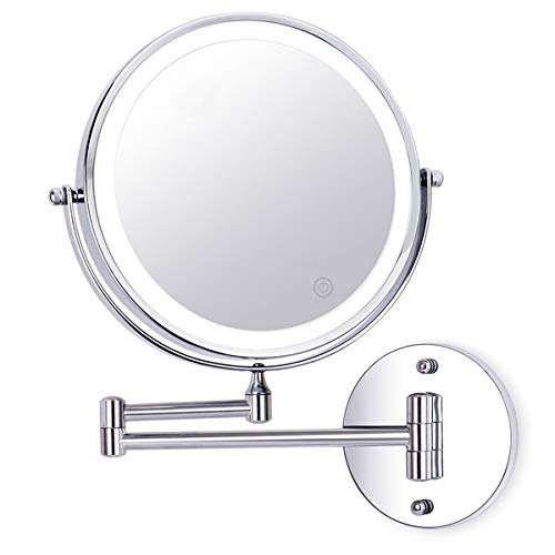 UUCOLOR Kosmetikspiegel LED Beleuchtet mit 1x/10x Fach Vergrößerung Schminkspiegel, wandmontage Kosmetikspiegel mit Touch Button Einstellbar Licht, 360° Schwenkbar und Vertikal