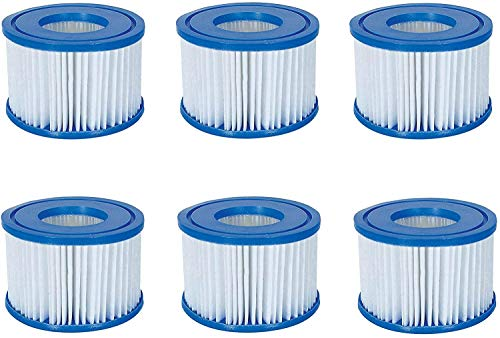 Volca Spares Whirlpool Filterpatrone Größe VI für Bestway, Lay-Z-Spa, Coleman SaluSpa 90352E 58323, 6 Stück