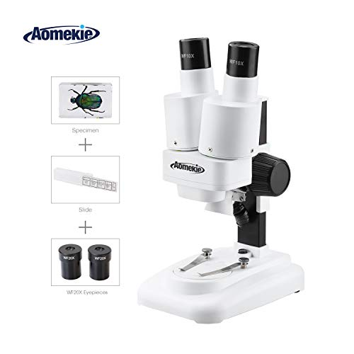 Aomekie Stereo Microscope 20-40X Microscopes for Kids Students with WF20x WF10x Eyepieces Insect Specimen 10 Slide Slides LED Light Source
