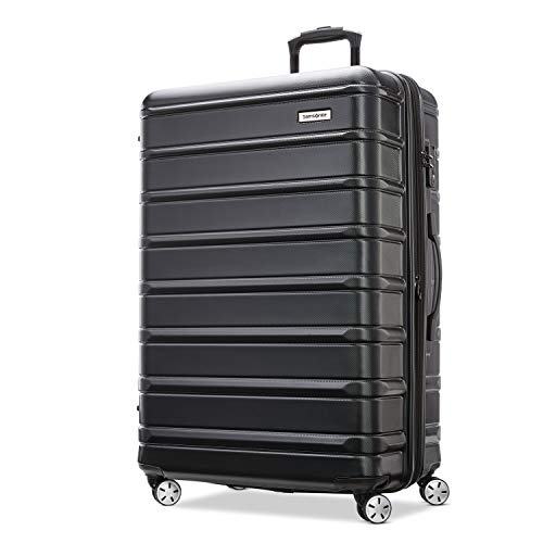 Samsonite Omni 2 Hardside Expandable Luggage with Spinner Wheels, Midnight Black, Checked-Large 28-Inch