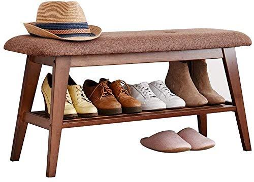 YLCJ Houten schoenenrek, schoenenrek organizer in stof voor hal, kast, slaapkamer, enz. Perfecte opslag voor bank (kleur: natuurlijk, afmeting: 60 cm lang)