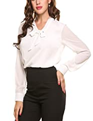 ANGVNS Womens Casual Chiffon Ladies V-Neck Cuffed Sleeve Blouse Tops (XX-Large, White) #2