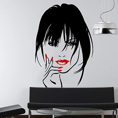 lyclff Cabello Salón De Belleza Etiqueta De La Pared Decoración para El Hogar Ojos Mujer Mujer Labios Cosmética Peluquería Etiqueta De Vinilo para Peluquería Decoración 57 * 80 Cm