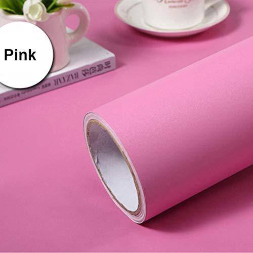 Matte Vinyl behang zelfklevende slaapkamer warm behang waterdichte PVC zuivere kleur muurstickers meubels Renovatie Stickers 5m x 40cm roze