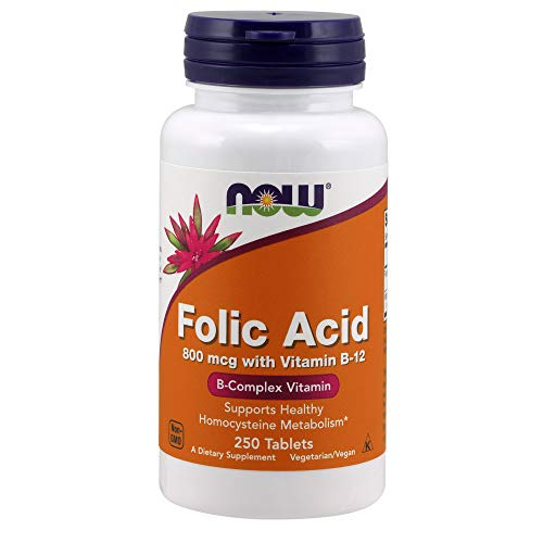 NOW Supplements, Folic Acid 800 mcg + B-12 (Cyanocobalamin) 25 mcg, B Complex Vitamin, 250 Tablets