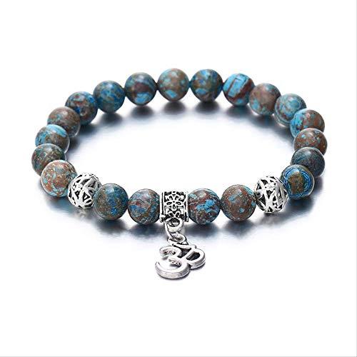 generies Charm OM Beads Vintage Lava Stone Bracelet para Mujer Trendy Nature...