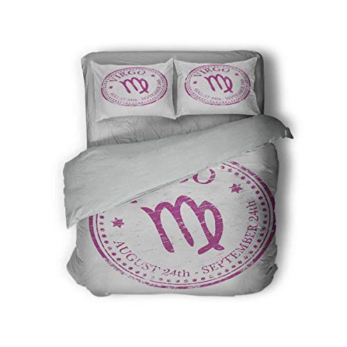 Luoiaax Virgo 3-Pack (1 Duvet Cover and 2 Pillowcases) Pink Colored Horoscope Symbol August 24th and September 24th Vintage Design Image Polyester (King) Pink White