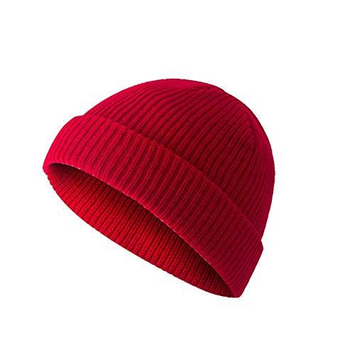 litty089 herfst winter voor unisex muts, effen kleur gebreid met randloze zeeman pet, warm schedel cap ornament